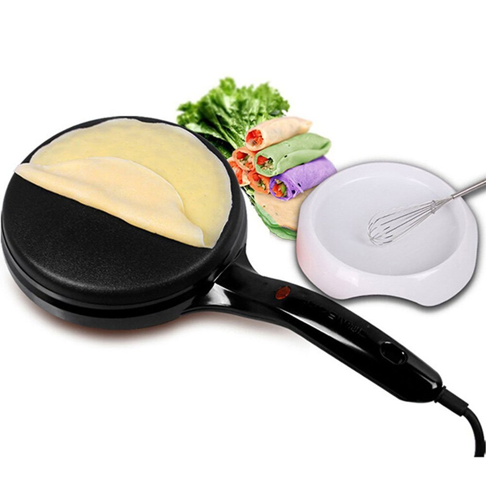 LIVEN Electric Crepe Maker with Non-Stick Coating and Automatic Temperature Control for Perfect Crepes, Blintzes, Pancakes, Bacon, 8 Inch Diameter 120V BC-11