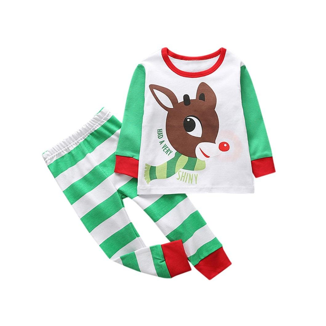 Muium Christmas Infant Baby Kids Deer Outfits Clothes T-Shirt Tops+Pants Outfits Boys Girls Clothes Set for 0-5 Years Old