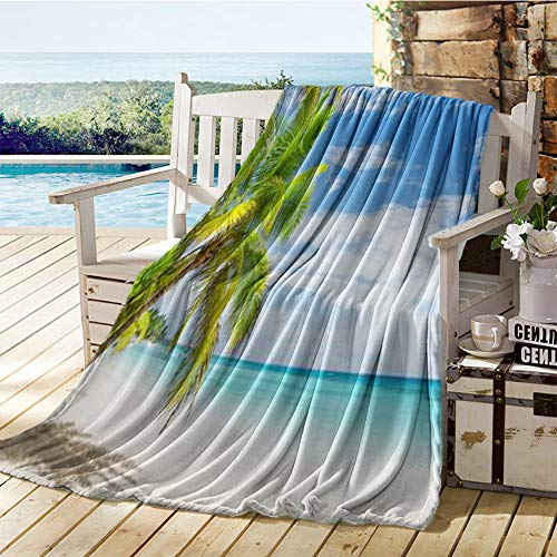 Zara Henry Printing Blanket,Coconut Palm Trees on White Sandy Beach in Punta Cana Dominican Republic, Plush Throw Blanket 50