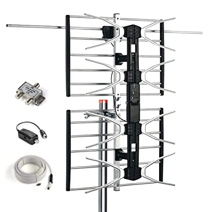 CeKay Outdoor Digital HD TV Antenna with High Gain and Low Noise Amplifier  for UHF / VHF - Long Range, Mounting Pole, 40FT RG6 Coaxial Cable, 2 Way