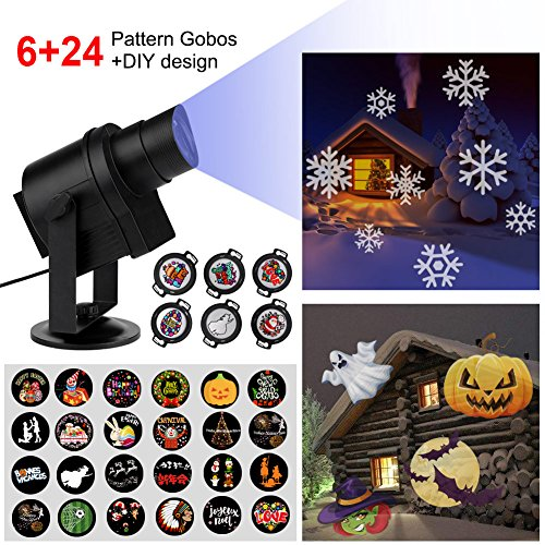 Diglot LED Christmas Projector Lights 2017 New DIY LED Projector Landscape Lighting with 6+24 Pattern Gobos 360° Rotating & Anti-fading Waterproof Films for Halloween Weeding Party Home (Films Halloween)