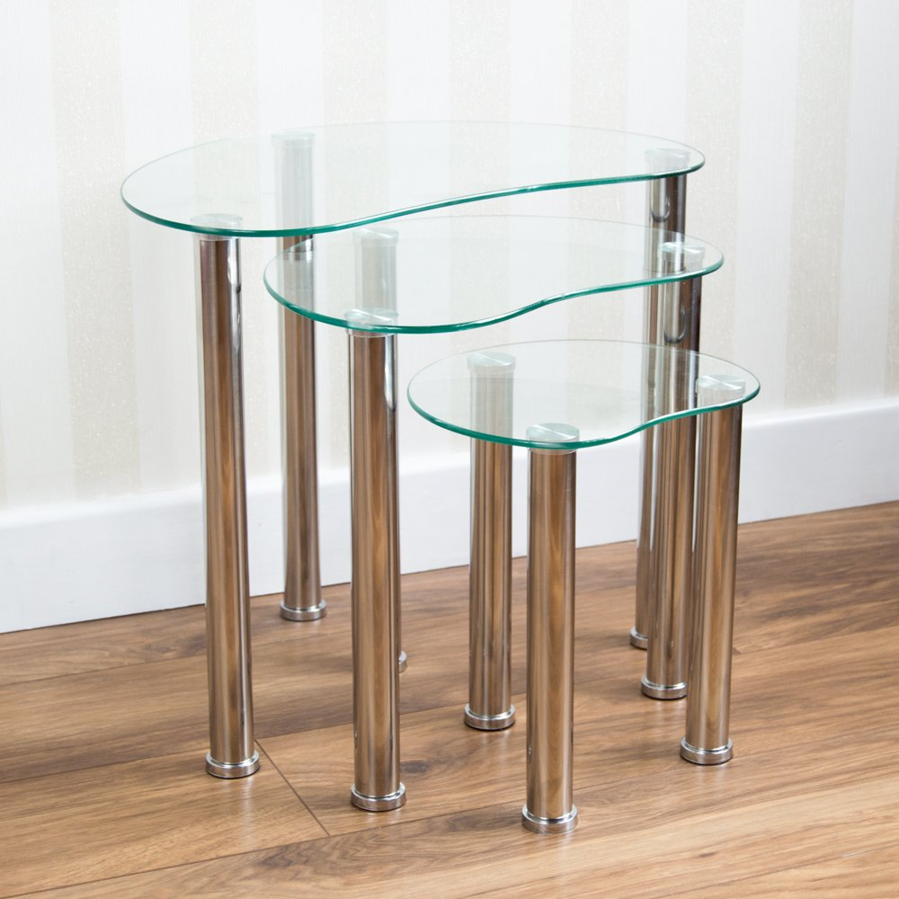 Home Discount® Cara Nest Of 3 Tables, Clear Glass Modern Furniture Home Discount®