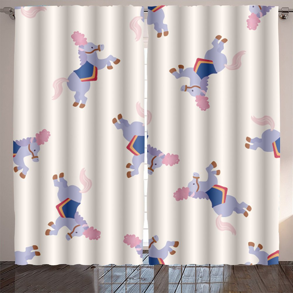 Analisahome circus animal cartoon seamless pattern background Bedroom/Living Room/2 Panels