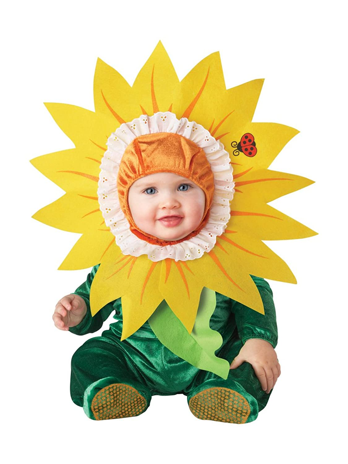 Infant Toddler Sunflower Costume Hood with yellow petals green jumpsuit with attached leaf leg snaps diaper changing and skid resistant feet