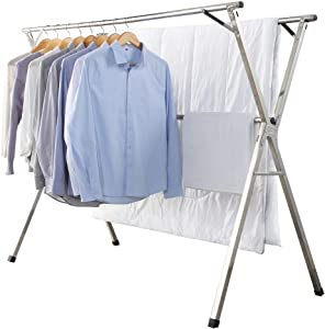 GISSAR Clothes Drying Rack for Laundry Foldable,Stainless Steel Laundry Drying Rack for Indoor Outdoor,Foldable Easy Storage Clothes Rack for Drying, Garment Rack Space Saving, 59 Inches