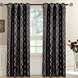 Regalia Chocolate Top Grommet Abstract Jacquard Textured Window Curtain Panel, Set of 2 Panels, 104×108 Inches Pair, by Royal Hotel Review