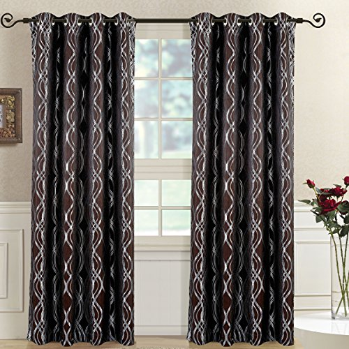 Royal Bedding Regalia Chocolate Panels, Top Grommet Abstract Jacquard Textured Window Curtain Panel, Set of 2 Panels, 52x84 Inches Each