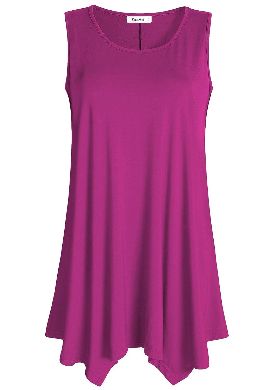 Boysenberry Esenchel Women's Flowing Tunic Tank Top Sleeveless Loose Shirt