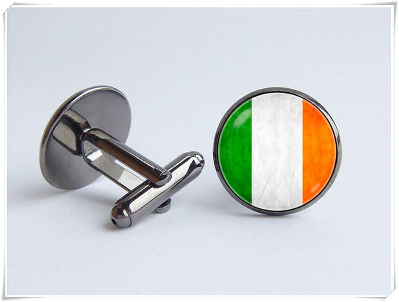 CuteTRex Jewelry Irish Flag Cuff Links Travel Gift Ireland