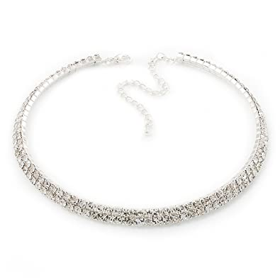 Sparkling Crystals Stretchable Necklace and Bracelet with Swarovski Crystals Cubic Zircon White Gold Finish Fashion Jewellery OgYY98q