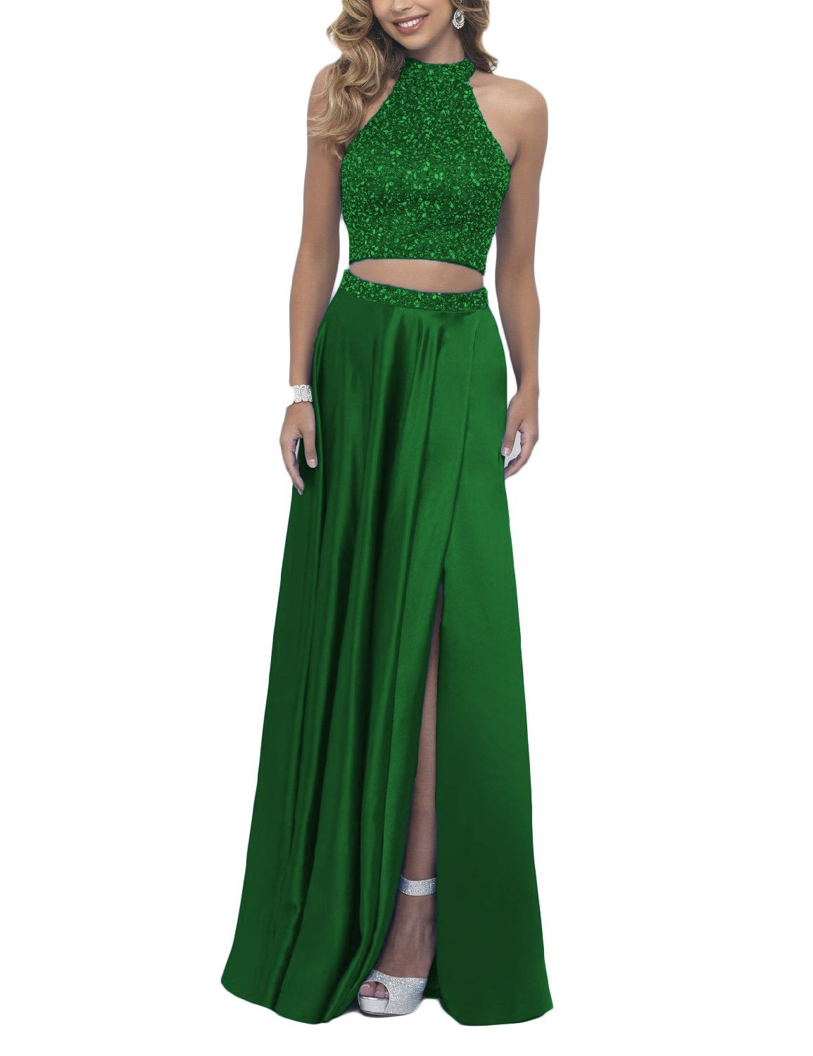 6b2623ac287a0 DarlingU Women's 2 Pieces Beaded Prom Party Gown Homecoming Cocktail Dresses  Green 4