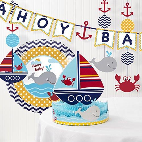 Creative Converting Ahoy Matey Nautical Baby Shower Decorations Kit ()