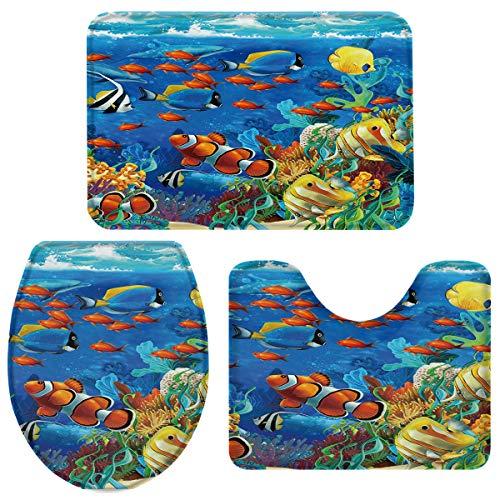 "EZON-CH 3 PCS Bathroom Rug Mats,Blue Ocean Tropical Fish Coral Undersea World Pattern Non Slip Bath Mat/Lid Toilet Cover/Contour Rug 18""x30""+14""x18""+15""x18"""