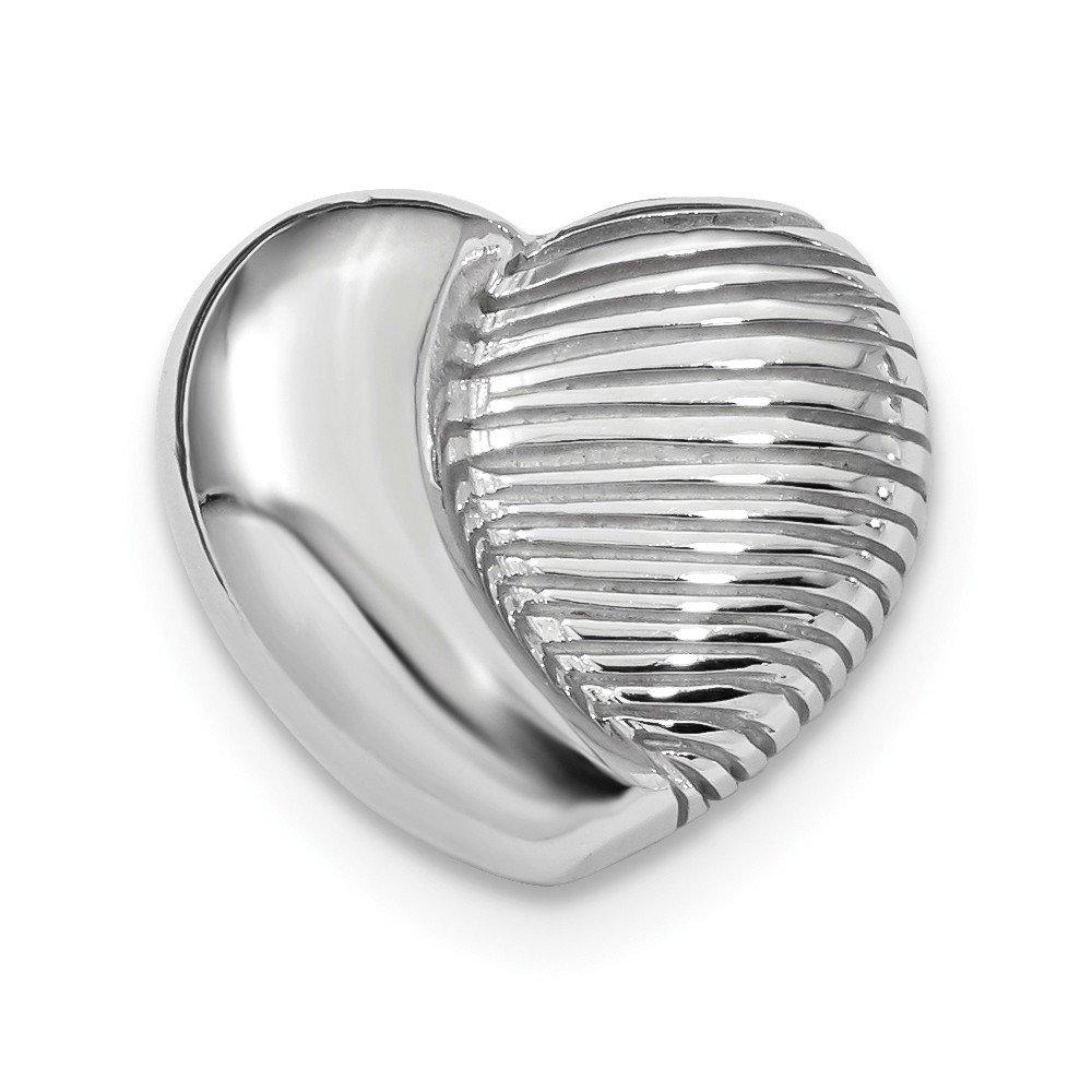 Bubble Heart Pendant Fancy Love Charm Diamond Cut Chain Slide Sterling Silver