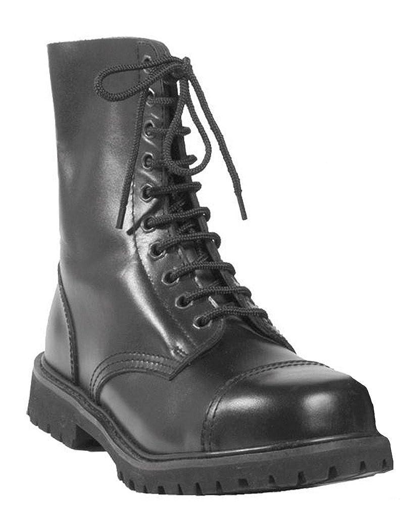 Mil-Tec - Invader 10 Loch Stiefel Stiefel Schwarz Stahlkappe Leder Schuhe Ranger