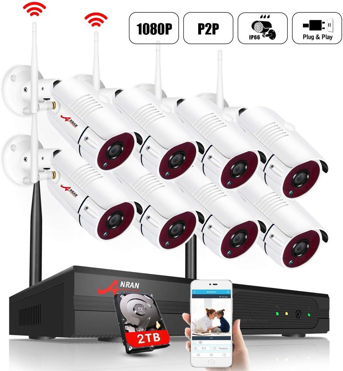 Acceso Remoto ANRAN 1080P Kit C/ámaras de Seguridad Inalambricas 8CH Sistema de Videovigilancia 8 C/ámaras de Seguridad 2TB HDD Fac/íl de instalar 【2020 Nuevo】2MP CCTV Kit C/ámaras de Vigilancia WiFi
