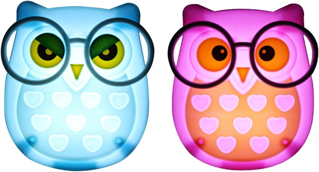 2 PCS Owl LED Plug in Night Light for Kids Yellow+Green Wall Lamp Take Good Care Children Sleep Light Sensor Auto Controlled Nightlights for Baby Nursing