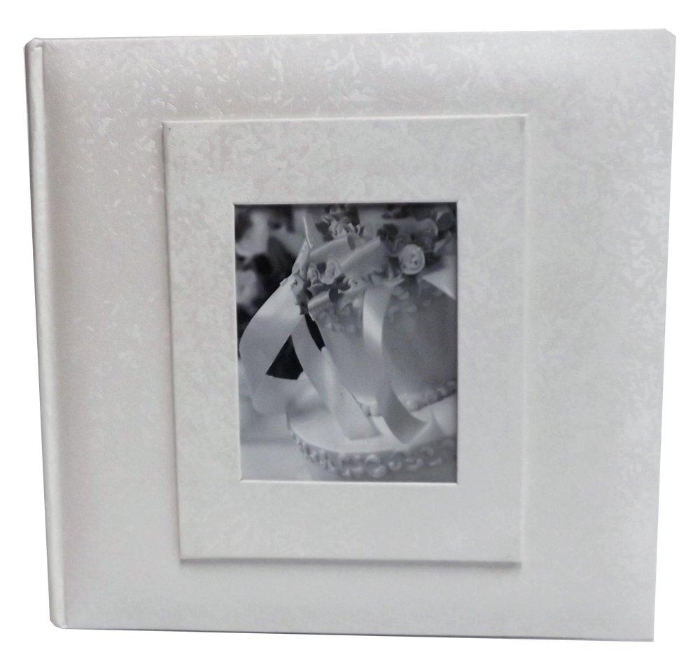 Wedding Story Photo Album/(set of 2)Jaquard Design w/window , White,Holds 200photos, 4''x6'' Photos