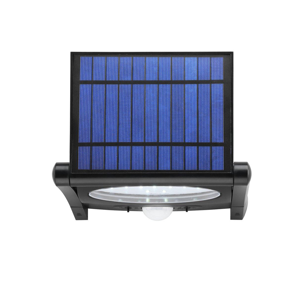 Link2Home EM-SL360B Outdoor LED 320 Lumen Solar Security Adjustable Motion Sensor Light with Photocell Technology in Black by Link2Home