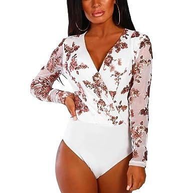 Uranus Femme Body Sexy Col V Combinaison à Paillettes Manches Longues  Léotard Clubwear 66a1abcd758