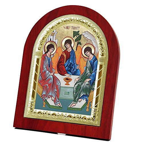 FengMicon Holy Trinity Icon Framed Wooden Back with Metal Trim Russian Icon Catholic Gift