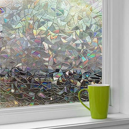 Cumyton Self-Adhesive Window Film Door Sticker No Glue Privacy Glass Film Frosted 17.7 by 78.7 - Window Self Adhesive