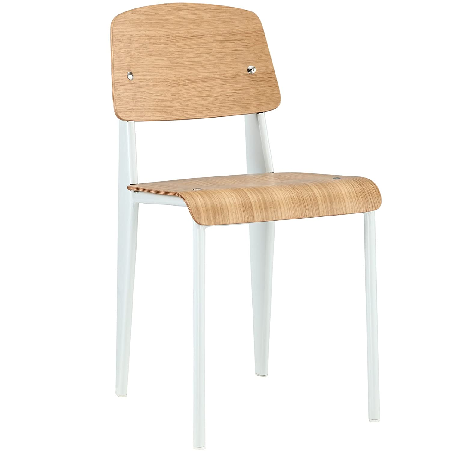 Modway Cabin Modern Wood and Metal Kitchen and Dining Room Chair in Natural White
