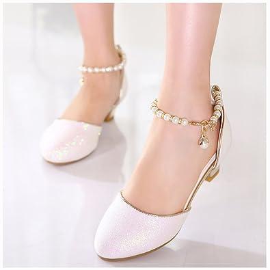 022e7fa4f40 Amur Leopard Kids Girls Glitter Princess Shoes Low Heels Party   Amazon.co.uk  Shoes   Bags