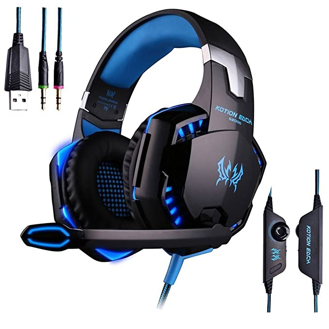 AWON Gaming Headset with Mic for PC,PS4,Xbox One,Over-Ear Headphones with  Volume Control LED Light Cool Style Stereo,Noise Reduction for