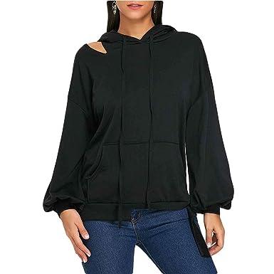 ZFFde Sudaderas con capucha mujer invierno Sudadera con capucha y manga larga en frío con hombros
