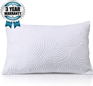 King Shredded Memory Foam Bed Pillow for sleeping- Adjustable to Thick Thin with Cool Cotton Case - Cooling Pillow for Side Back Sleepers -Soft Firm Support for Therapeutic Neck Pain Gift, Modern King