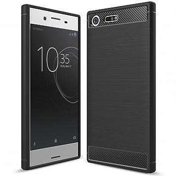 NALIA Funda Carbono Compatible con Sony Xperia XZ Premium, Protectora Movil Carcasa Cobertura Silicona Ultra-Fina Gel Bumper Estuche, Goma Telefono ...