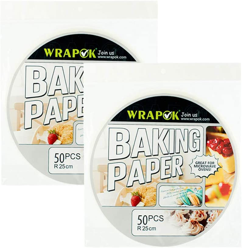 WRAPOK 10 Inch Bamboo Steamer Paper Round Perforated Parchment Air Fryer Liner Non-stick 100 Count for Baking Steaming Basket Cooking Cake Pans Circle