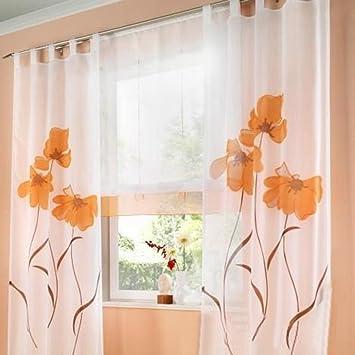 Amazon.de: Souarts Orange Stickerei Transparent Gardine Vorhang ...