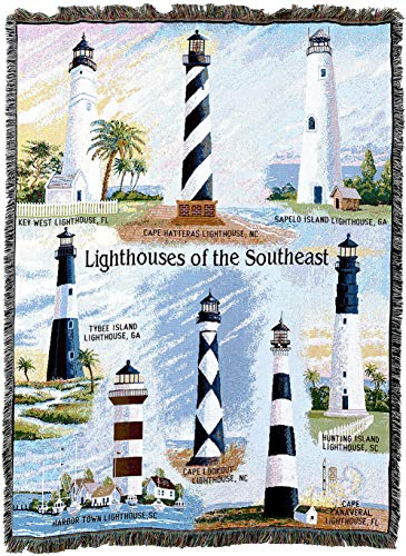 Pure Country Weavers - Lighthouses of The Southeast Key West Cape Hatteras Sapelo Tybee Harbor Town Cape Lookout Canaveral Hunting Island Woven Tapestry Throw Blanket with Fringe Cotton USA 72x54