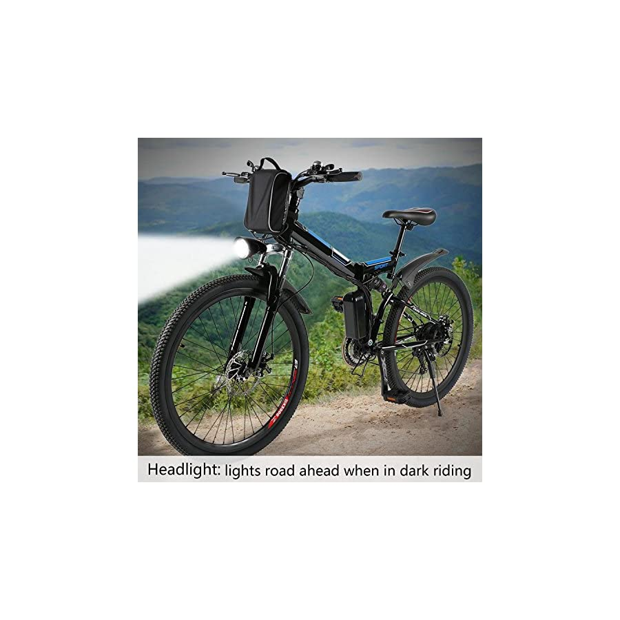 """Keland 36V 250W 21 Speed Folding Electric Mountain Bike, Electric Bicycle with Removable Lithium Ion Battery, Battery Charger, LED light and horn, 26"""" (US Stock)"""
