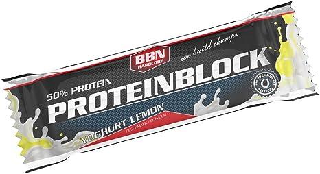 BBN Hardcore Protein Block Barrita de Proteína, Yoghur y Limon (Yoghurt and Lemon) , 15 Barras