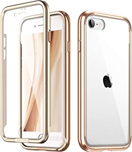 "SURITCH Clear Case for iPhone SE 2020/iphone 8/7,[Built in Screen Protector][9H Tempered Glass Back][Metallic Electroplated Edge] Shockproof Full Body Protective Cover for iPhone SE 2020/8/7 4.7"" Gold"