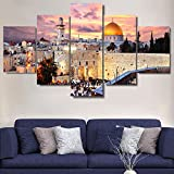 Extra Large Islamic Religion Canvas Jerusalem Wall Art Mecca-Modern Muslim Split Artwork-5 Panel/Set Prints Giclee for Living Room Home Decor Wooden Framed Stretched Ready to Hang(60''Wx40''H)