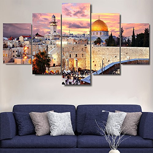 Extra Large Islamic Religion Canvas Jerusalem Wall Art Mecca-Modern Muslim Split Artwork-5 Panel/Set Prints Giclee for Living Room Home Decor Wooden Framed Stretched Ready to Hang(60''Wx40''H) - Venetian Wall Art