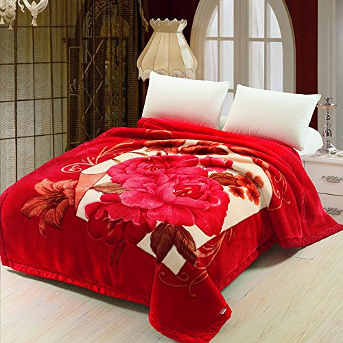 Znzbzt Wedding red blanket thick-pile carpet in winter cover wedding celebration red double blanket ,180X220-6 catty, sst peony - Red by Znzbzt