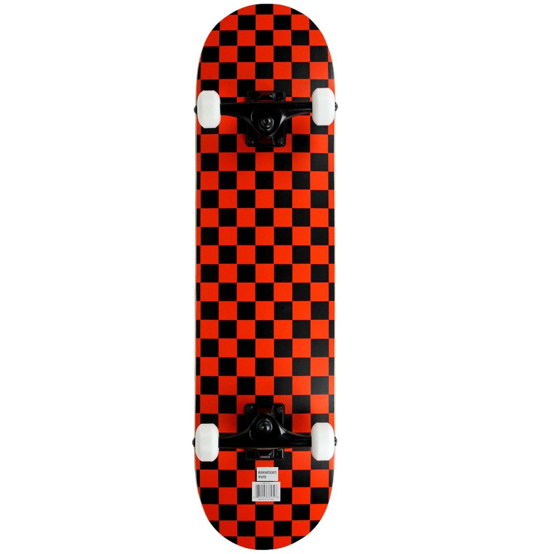 Krown Rookie Checker Skateboard, Black/Red, 7.75''