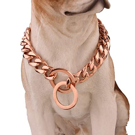 Collar Perro Oro Rose Gold Tone Double Curb Pet Link Stainless ...