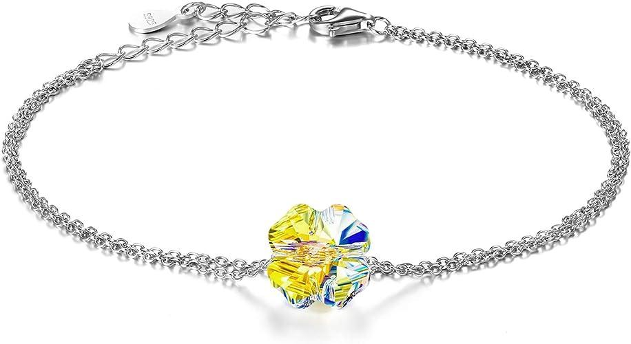 Aroncent Bijoux Fantaisie Bracelet Femme Feuille Eclatant Cristaux ...