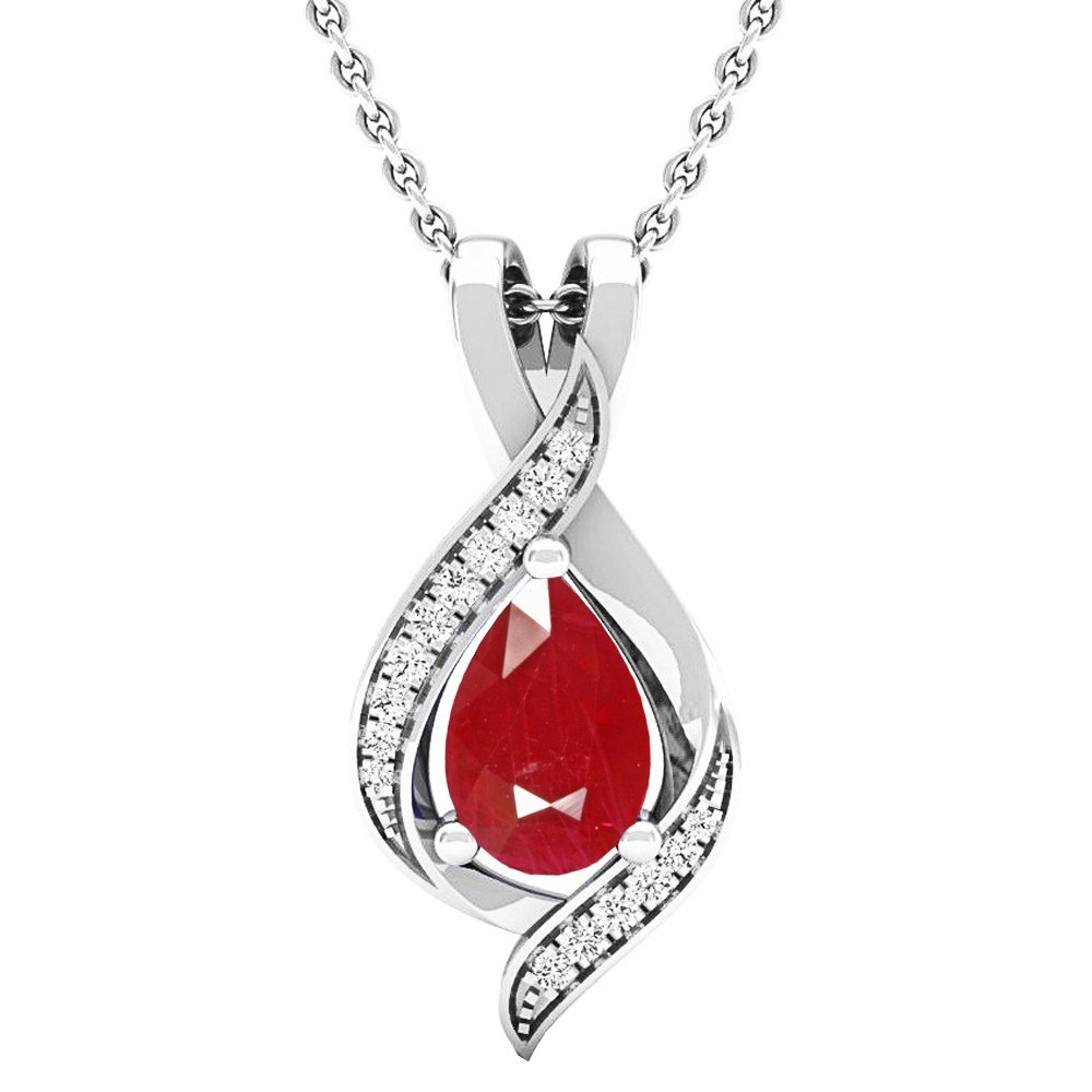 Dazzlingrock Collection 10K Pear 9X6 MM Lab Created Ruby & Round Diamond Ladies Pendant, White Gold