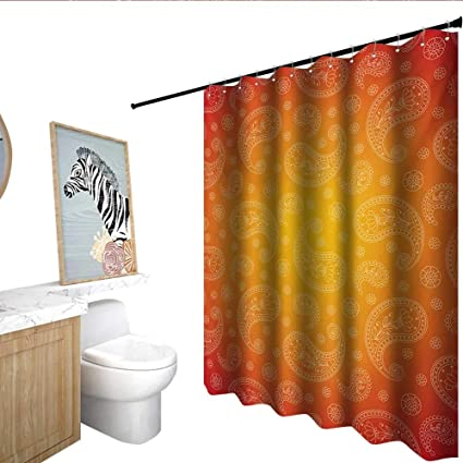 Homecoco Orange Flower Shower Curtain Ombre Colored And Ethnic Themed Image With Blank Frame Floral