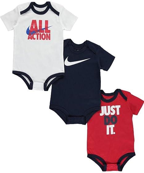 5ff23308d4e9a Amazon.com: Nike Baby Boys' 3-Pack Bodysuits - white/multi, 9 - 12 ...