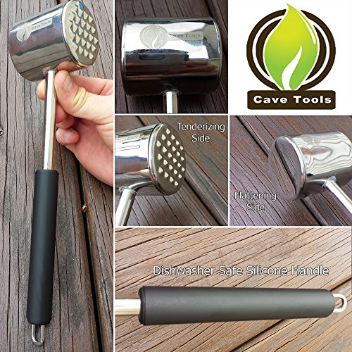 Tenderizer Mallet + Smoker Box for BBQ Grill Wood Chips - 25% Thicker Stainless Steel Won't Warp - Charcoal & Gas Barbecue Meat Smoking Hinged Lid - Grilling Accessories Gift for Dad by Cave Tools (Image #5)