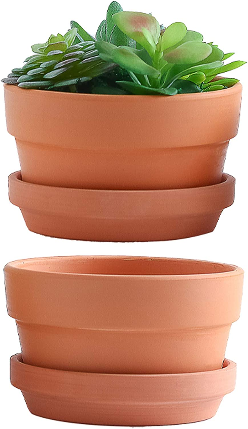 Yishang 7 Inch Terracotta Shallow Planters with Saucer/Tray,Ceramic Flower Clay Plant Pots with Drainage Hole,Unglazed Cactus/succlent Plant Containers Indoor Garden Bonsai Pots