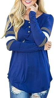 Homebaby Elegante Maglietta Maniche Lunghe Donna Giuntura- Vintage Felpe Donna - Felpa con Spalla Fredda Donna Manica Primavera Lunga Felpa Pullover Top Camicetta Casual